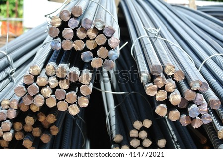 SELANGOR, MALAYSIA -APRIL 16, 2016: Hot rolled deformed steel bars or steel reinforcement bar used at construction site as the reinforcement bar to strengthen concrete.  - stock photo