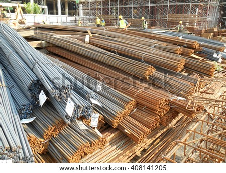 SELANGOR, MALAYSIA -APRIL 16: Hot rolled deformed steel bars or steel reinforcement bar used at construction site as the reinforcement bar to strengthen concrete.  - stock photo