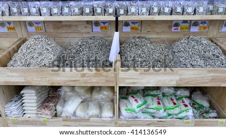 SELANGOR, MALAYSIA - 29 April, 2016: Rows of anchovy inside hypermarket in Bangi, Selangor. - stock photo