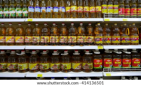 SELANGOR, MALAYSIA - 29 April, 2016: Rows of cooking oil inside hypermarket in Bangi, Selangor. - stock photo
