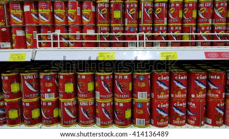 SELANGOR, MALAYSIA - 29 April, 2016: Rows of sardine inside hypermarket in Bangi, Selangor. - stock photo