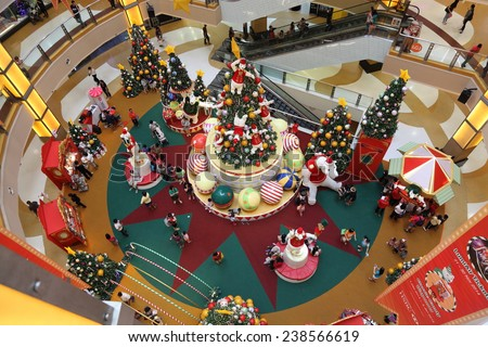 "SELANGOR, MALAYSIA - DECEMBER 17: The beautiful Christmas decorations at Sunway Pyramid Shopping Mall on December 17, 2014 in Selangor, Malaysia. Theme of this year is ""A Hoopful Christmas""."
