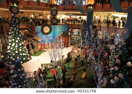 "SELANGOR, MALAYSIA - DECEMBER 11: The beautiful Christmas decorations at Sunway Pyramid Shopping Mall on December 11, 2011 in Selangor, Malaysia. Theme of this year is ""Joyful Christmas"". - stock photo"