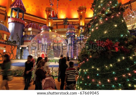 SELANGOR, MALAYSIA - DECEMBER 19: The Christmas decorations at Sunway Pyramid Shopping Centre on December 19, 2010 in Selangor, Malaysia.