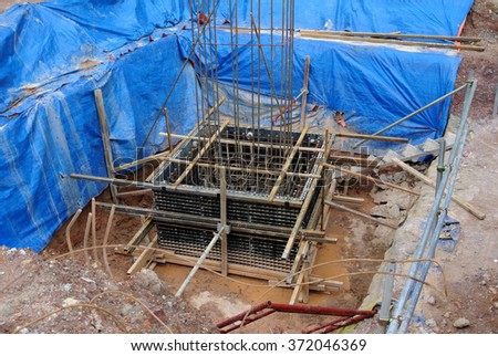 SELANGOR, MALAYSIA � May 25, 2015: Pile cap form work made from polymer at the construction site. This is new technology replace the traditional form work that made from timber and plywood.