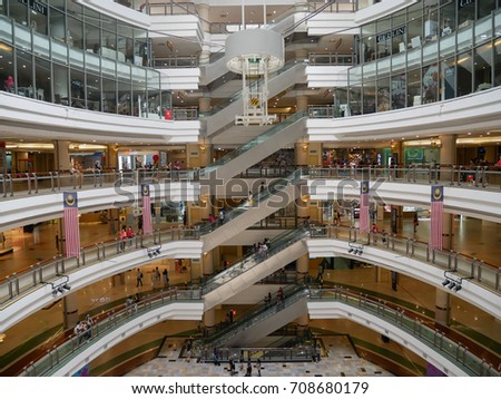 SELANGOR, MALAYSIA - SEPTEMBER 4, 2017: Wide angle view of centre court at 1 Utama Shopping Mall. World 6th largest mall is indisputably a premier lifestyle mecca with something for everyone.