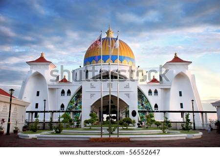 Selat Melaka Mosque - stock photo