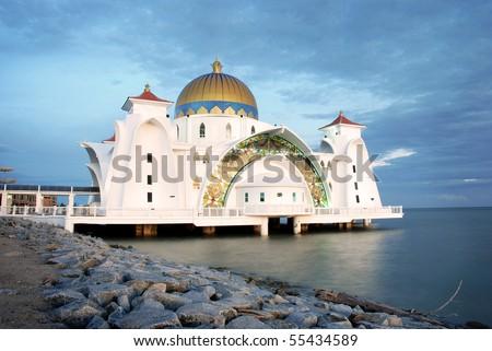 Selat Melaka (Strait Malacca) Mosque, Malacca, Malaysia - stock photo