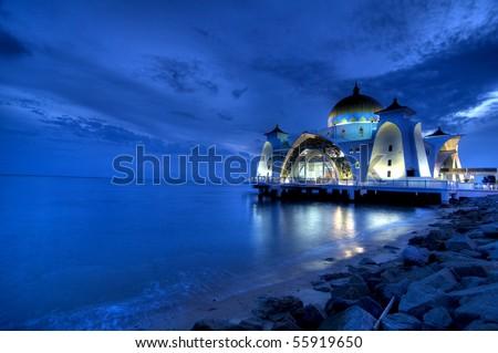 selat mosque on the sea in melaka,malaysia - stock photo