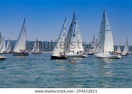SELCE, CROATIA - JULY 04, 2015: Sailing regatta 'Selce Open 2015'. Points in the Selce Open, a traditional keelboat regatta, count towards the overall rankings in the Croatian Littoral Cup. - stock photo