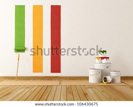 select color swatch to paint wall - rendering - stock photo