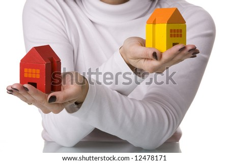 select the best house deal (selective and soft focus) - stock photo