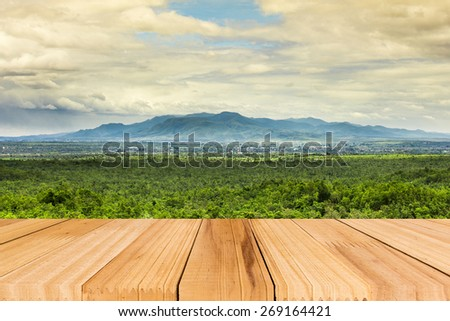 Selected focus Old wooden table for Your photo montage for Your product display. - stock photo