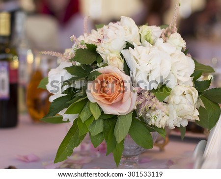 selected focus on the flower, wedding flowers for table