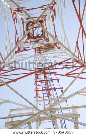 selected focus telecommunication tower with antennas. - stock photo