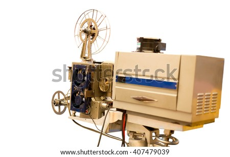 Selected focus Vintage Film Projector isolated in white background - stock photo