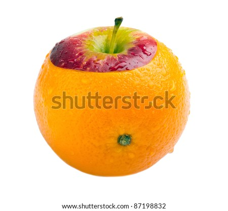 selected orange crossed with apple isolated on white - stock photo