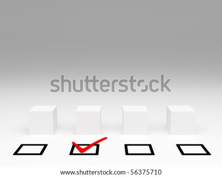 selection and check mark on white - stock photo