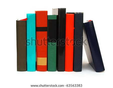 Selection books on white - stock photo