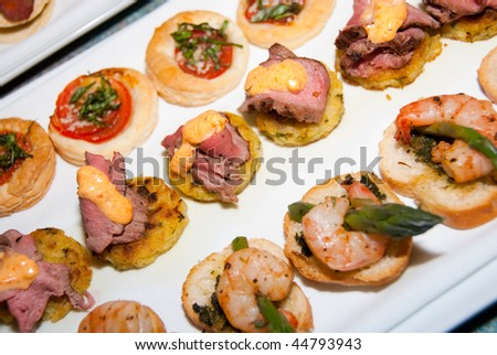 Selection canapes - stock photo