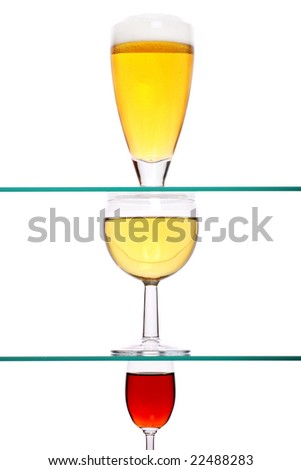 selection of beer, wine and spirit - stock photo