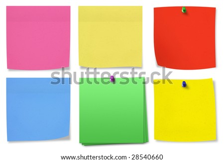 Selection of blank notes. Isolated on white background with shadows.