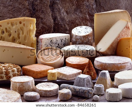 Selection of cheeses - stock photo