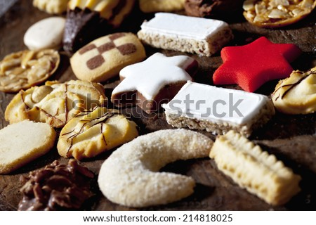 Selection of christmas cookies - stock photo