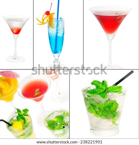 selection of cocktails drinks  collage composition nested on a square frame - stock photo