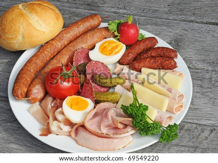 Selection of cold cuts on an old table
