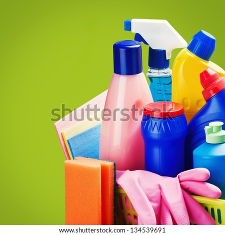 selection of colorful cleaning equipment