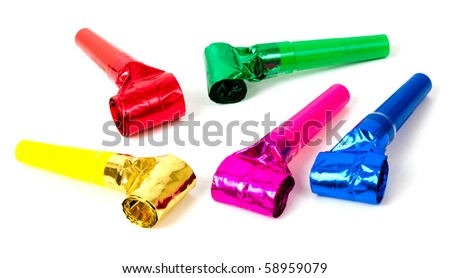 Selection of different colored party blowers on a white background