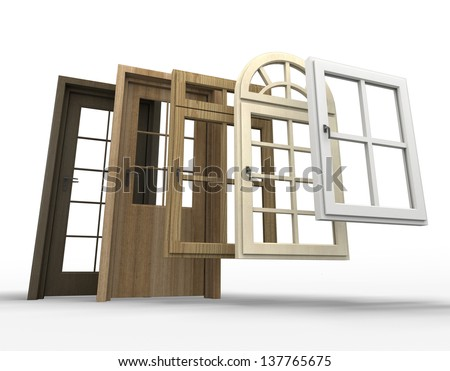 Selection of doors and windows with a white background - stock photo