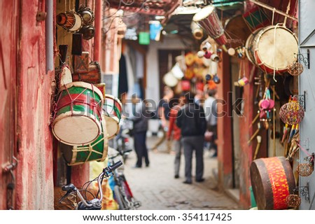 Selection of drums on Moroccan market (souk) in Marrakech, Morocco - stock photo