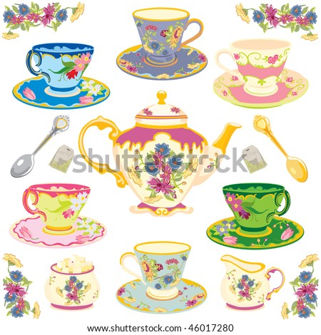 Selection of fancy victorian teacups , isolated on white - stock photo