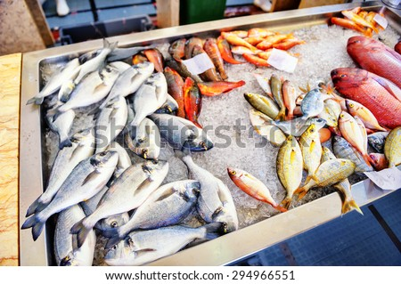 Selection of fresh fish on ice. Fish market on Madeira island - stock photo