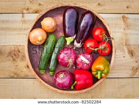 SElection of fresh fruit and vegetables for cooking - stock photo