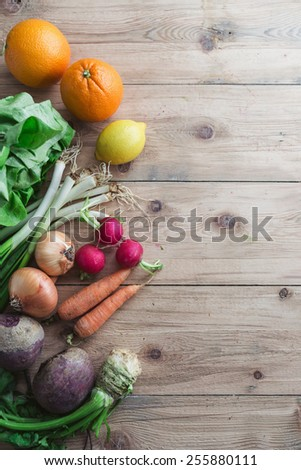 Selection of fresh fruits and vegetables - stock photo