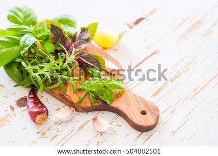 Selection of fresh herbs and spices