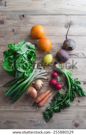 Selection of fresh organic fruits and vegetables - stock photo