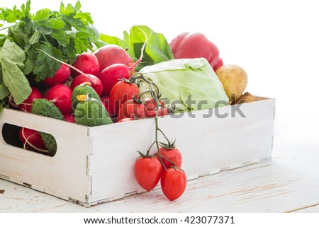 Selection of fresh vegetables from farmers market, copy space,