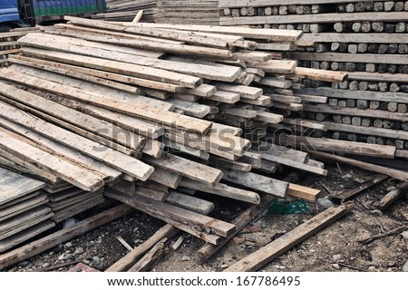 Selection of freshly saw timber material