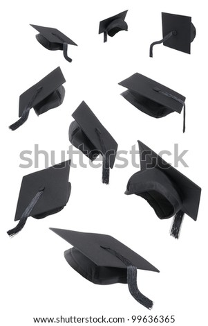 Selection of graduation caps on a white background - stock photo