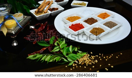 Selection of Indian and cooking spices displayed on a white place with cinnamon sticks. - stock photo