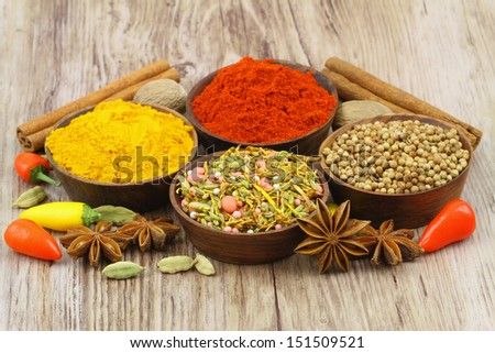Selection of Indian spices, close up  - stock photo
