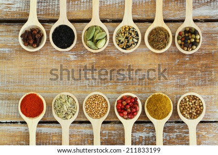 Selection of Indian spices on wooden spoons   - stock photo