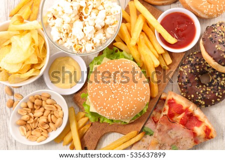 selection of junk food