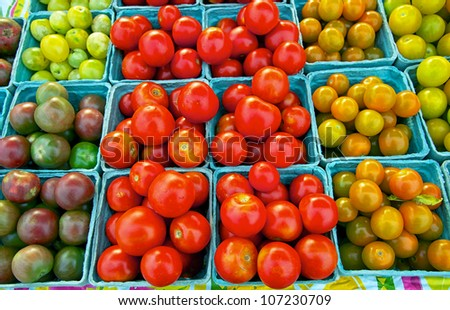 Selection of just harvested cherry tomatoes at Delaware farm market - stock photo