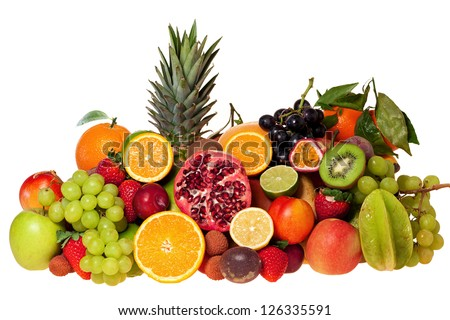 Selection of many different exotic fruits isolated on white background - stock photo
