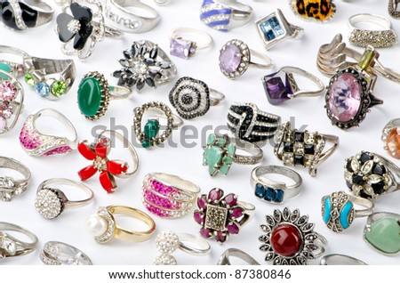 Selection of many precious rings - stock photo